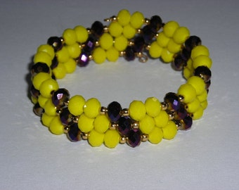Yellow & Purple Beaded Serpentine Bracelet Cuff