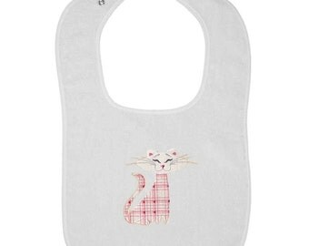 Patchwork Cute Kitty Embroidered Terry Cloth Bib