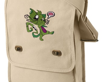 Zombie Kitty Embroidered Canvas Field Bag