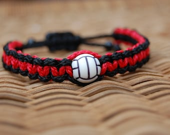 Red and Black Trendy Volleyball bracelet /  Volleyball Jewelry / Volleyball Team / Volleyball Mom / Sports Jewelry / Sports
