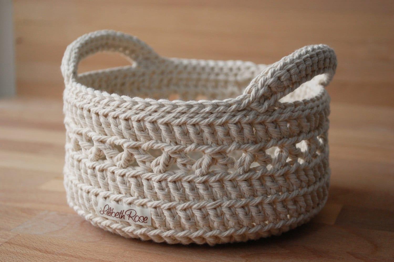Knitting Basket With Handles : Medium crochet basket with handles