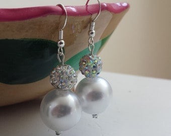 Sparkling 16 mm  White Pearl with Pave Rhinestone Drop Earrings