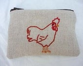 Hand embroidered small zippered pouch with chicken