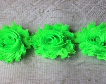 1 Yard Shabby Chiffon Flower Trim in Neon Green - Flower Trim for Headbands and DIY supplies