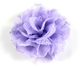 3.75 inch Chiffon Lace Flower in Light Purple - Flower Head for Headbands and DIY Hair Accessories