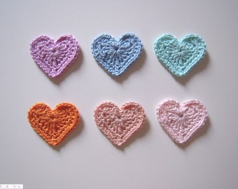 Cute crochet heart appliques in cotton - set of 6 assorted colors
