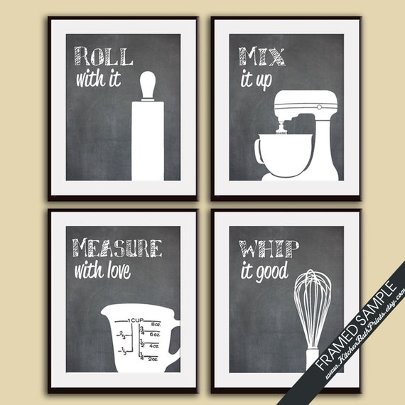 Funny kitchen art print set rolling pin mixer by for Funny kitchen set