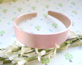 SALE--10 pcs 30mm Pink Satin Headbands