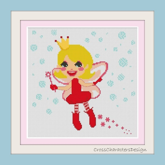 Cross stitch pattern - red dress fairy - Instant Download!