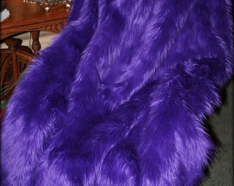 Faux Fur Throw Blanket - Purple Shaggy Fur - Premium Faux Fur backed with Minky Cuddle Fur - Fur Accents Original - USA