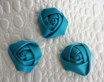 "Set of 3 Rolled Rosettes 1.5"" - Teal - Satin Flower - Satin Rose - Small Rosettes - Satin rosettes - Rolled flowers - Wholesale - supply"