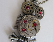 Steampunk Necklace, Owl Necklace, Steampunk Jewelry, Watch Parts, Rhinestone, Moving Watch Parts, Owl Necklace, Gift idea Under 35 Dollars