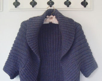 Aran Knitting Pattern With Hood : Aran Hooded Wrap. PDF Knitting Pattern.