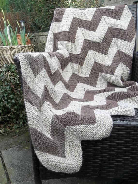 Aran Garter Stitch Chevron Throw Pdf Knitting Pattern