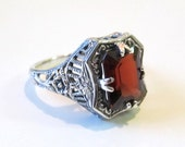Sterling Silver Garnet Filigree Ring Rose Floral Detail/ Vintage Antique Art Deco Edwardian Style/ Mothers Day Gift, Ladies Size 9