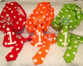 Boys Smash Cake Set - Dots - Diaper Cover, Tie & Birthday Hat - Birthday Set