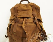 Backpack Genuine Cow Leather Bag Canvas Bag Canvas Backpack -Leather Canvas Briefcase - men' s Leather Canvas Bag - Army Backpack