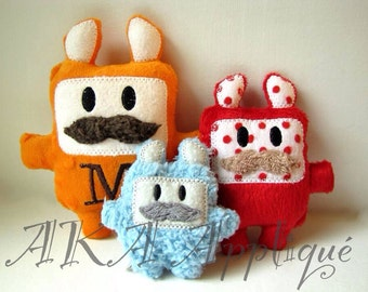 Mustache Monster SQUARE Plushie ITH Embroidery Design