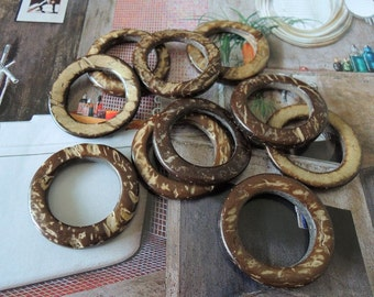 25 Pcs 30mm Coconut  Ring Charm Coconut Shell Donut Brown (W045)