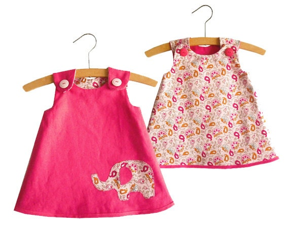 Size 0-24 months/Reversible A Line Dress Pattern/ Toddler