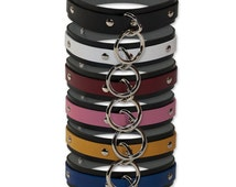 1 Ring Locking Slave Collar - Leather, ORing, Locking Buckle