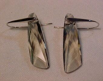 stunning Swarovski earrings (HALLMARKED)Light Smokey Colour Stunning
