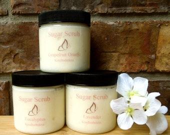 Sugar Scrubs - All Natural - Set of 3 - Orange Grapefruit - Lavender - Eucalyptus - 4oz