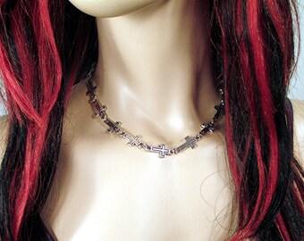 Silver Goth /Rocker / Biker Cross Necklace/Choker
