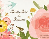 Floral Garden Digital Clip Art - Birds, Bees and Flower Blossoms Printable Graphics for Scrapbooks, Invites and Collages