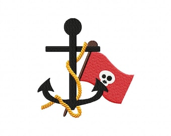 INSTANT DOWNLOAD Ahoy Pirate Anchor Machine Embroidery Design