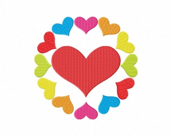 INSTANT DOWNLOAD Circling Hearts PAttern Machine Embroidery Design