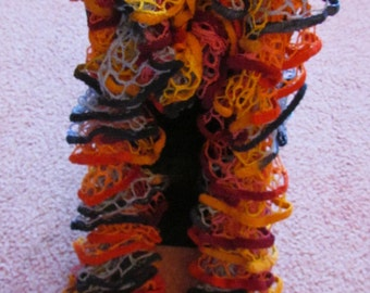 bright colored velour knitted ruffled scarf