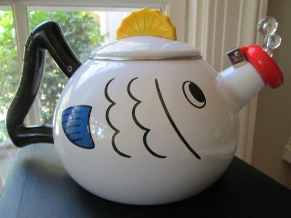 Vintage Kamenstein Fish Bubble Tea Pot Kettle Enamel Whistling