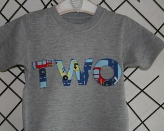 Boys Clothes, Boys birthday tshirt, boys age, boys short sleeved T shirt, cars fabric, 1st 2nd 3rd 4th 5th 6th 7th kids birthday