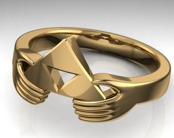 gold zelda hands of friendship ring - Zelda Wedding Ring