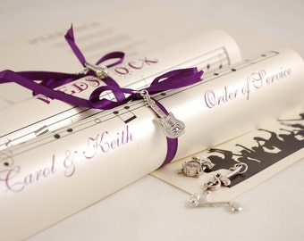 Order of Service scrolls for your Music themed wedding