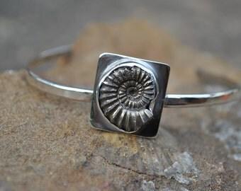 Pyrite Ammonite Sterling Silver Bracelet