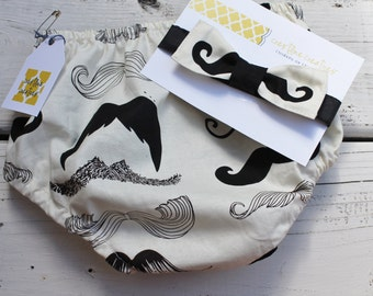Mustache Diaper Cover with Bow Tie, Cake Smash Outfit