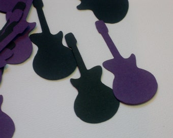 Black and Purple Guitar Table Confetti / Party Table Decor / Guitar Party Table Scatter / 100 Pieces