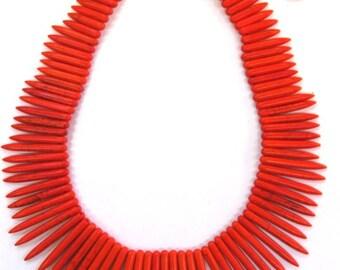 40cm Orange Coloured Howlite (Magnesite) Spike Strand