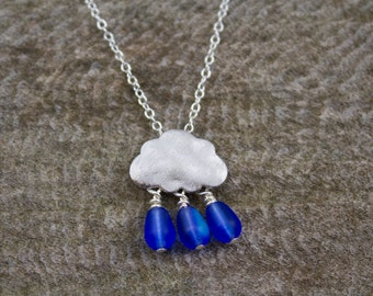 Silver Plated Raincloud Necklace with Dark Blue Rain Drop Beads