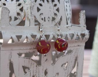 Red Painted Bead Earrings