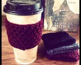 Set of Three Reusable Crochet Coffee Sleeves