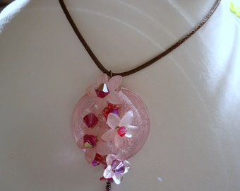 Pink Lucite Flowers and Swarovski Crystal Pendant.