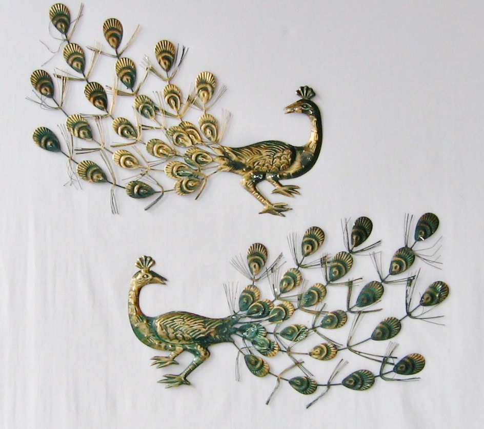 Mid century modern peacock wall art metal peacock pair mid for Peacock wall art