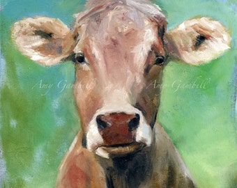 "Cow Portrait - LARGE 41.5"" x 41.5""  Print of original oil"