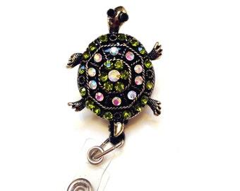 Rhinestone Green Turtle Bling ID badge holder retractable reel