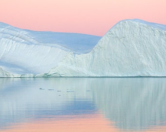 Fine Art Print, Greenland, Sunset, Scoresby Sound, Dusk, Arctic, Iceberg, Nature photograph, Pink Light