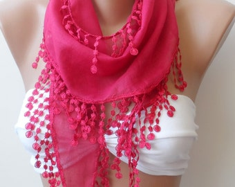 Super Elegant scarf...Hot pink lace scarf, Cotton scarf, LACE scarf, Summer scarf, Scarves, Wedding scarf, fringe, HOT PINK scarf, Gifts