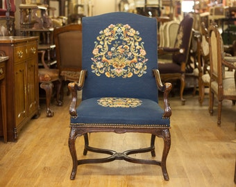 Beautiful Antique French Blue Needle Point Arm Chair
